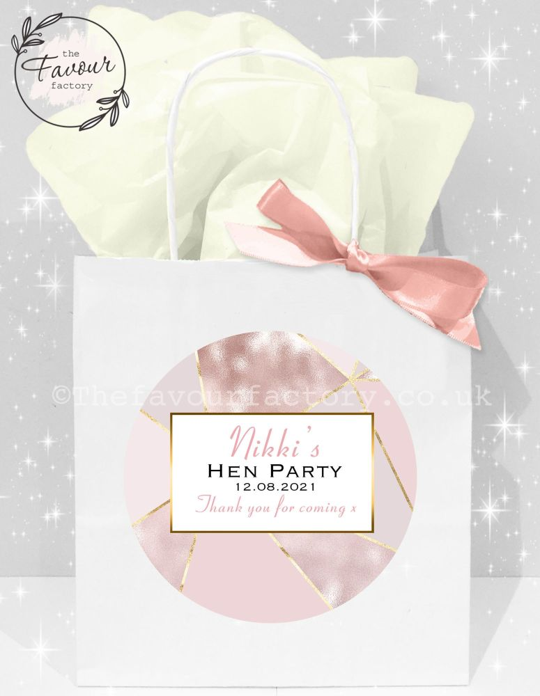 Personalised Hen Party Bags Rose Gold Geometric x1