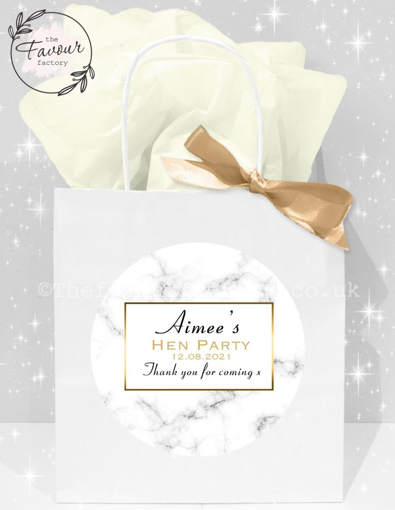 Personalised Hen Party Bags Modern Marble x1
