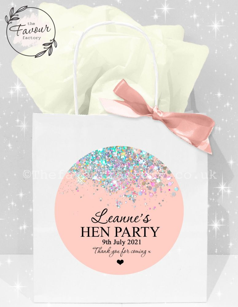 Personalised Hen Party Bags Rose Gold Iridescent Glitter Confetti x1