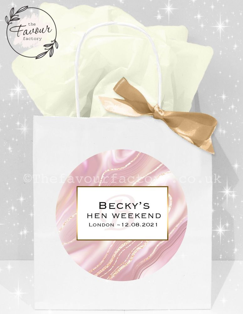 Personalised Hen Party Bags Rose Gold Liquid Marble x1