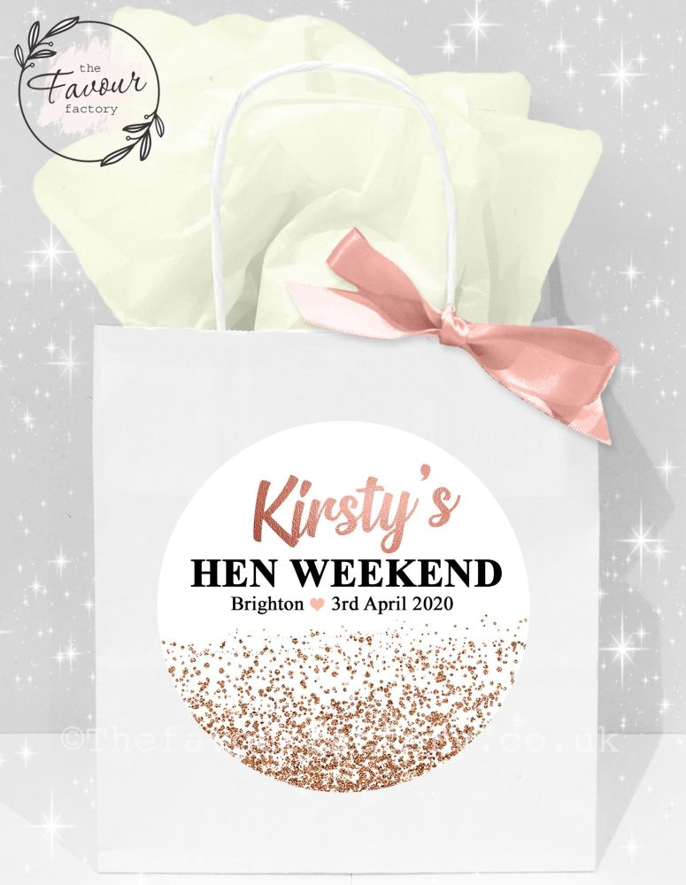 Personalised Hen Party Bags Rose Gold Glitter Confetti x1