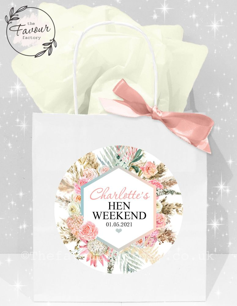 Personalised Hen Party Bags Boho Pampas Grass x1