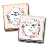 Hen Party Mini Milk Chocolates Personalised Vintage Floral Wreath x10