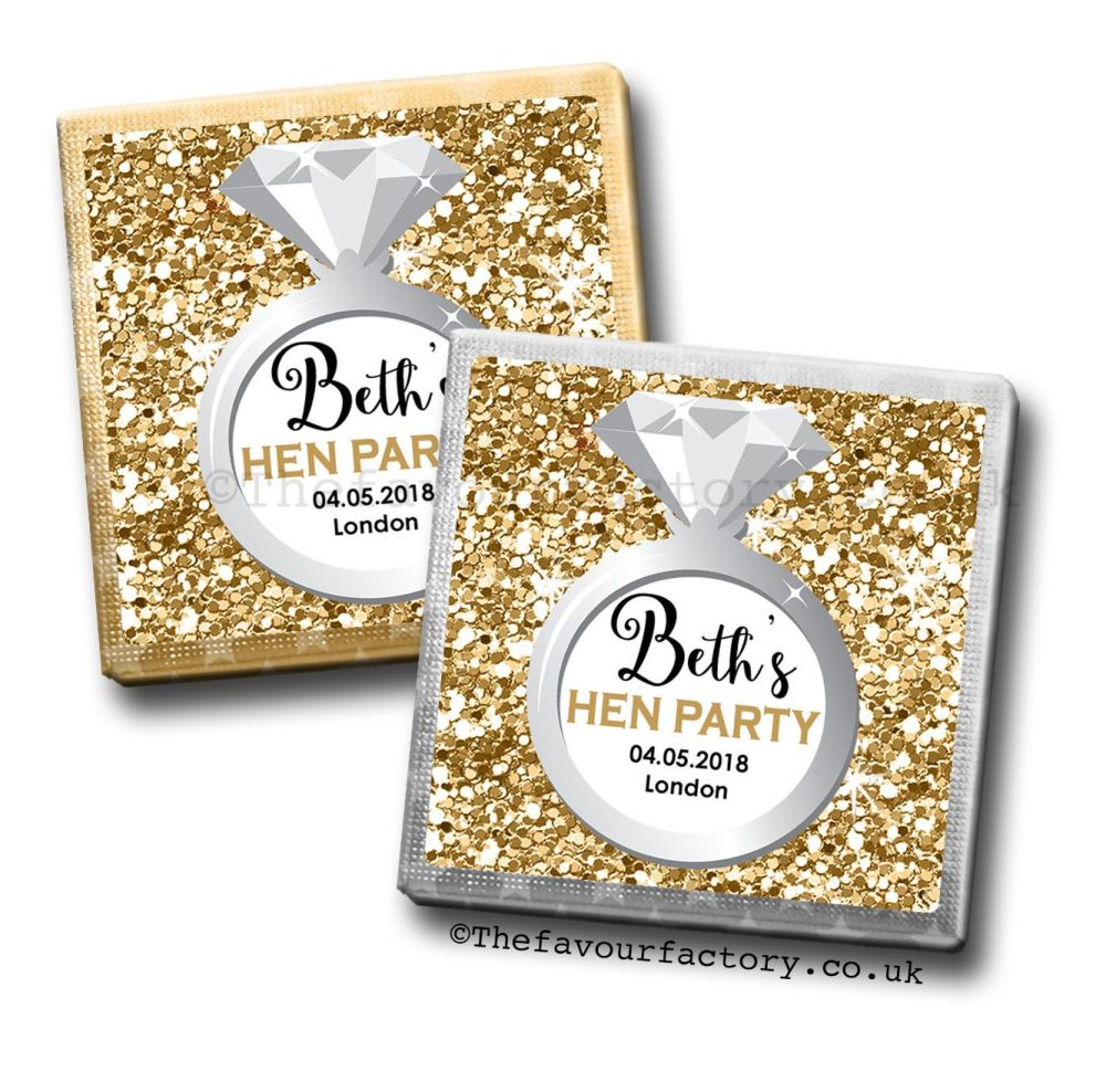Hen Party Milk Chocolates Gold Glitter Ring x10