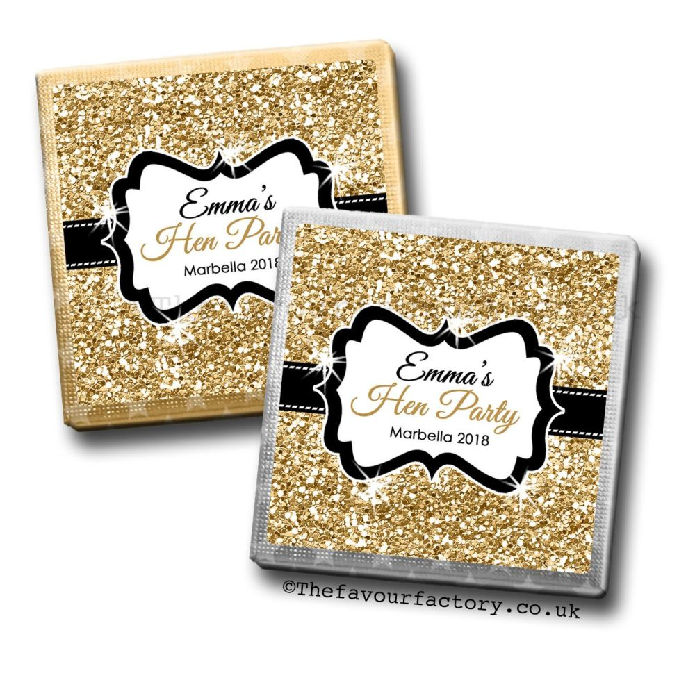 Hen Party Milk Chocolates Gold Glitter x10
