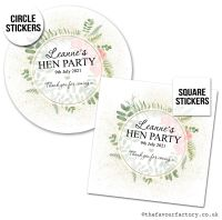 Hen Party Stickers Personalised Botanical Gold Dust Roses x1 A4 Sheet