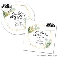 Hen Party Stickers Personalised Geometric Botanicals x1 A4 Sheet