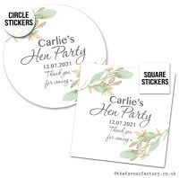 Hen Party Stickers Personalised Botanical Gold Leaf x1 A4 Sheet