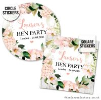 Hen Party Stickers Personalised Blush Hydrangeas 1x A4 Sheet