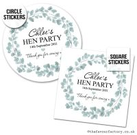 Hen Party Stickers Personalised Eucalyptus Wreath x1 A4 Sheet