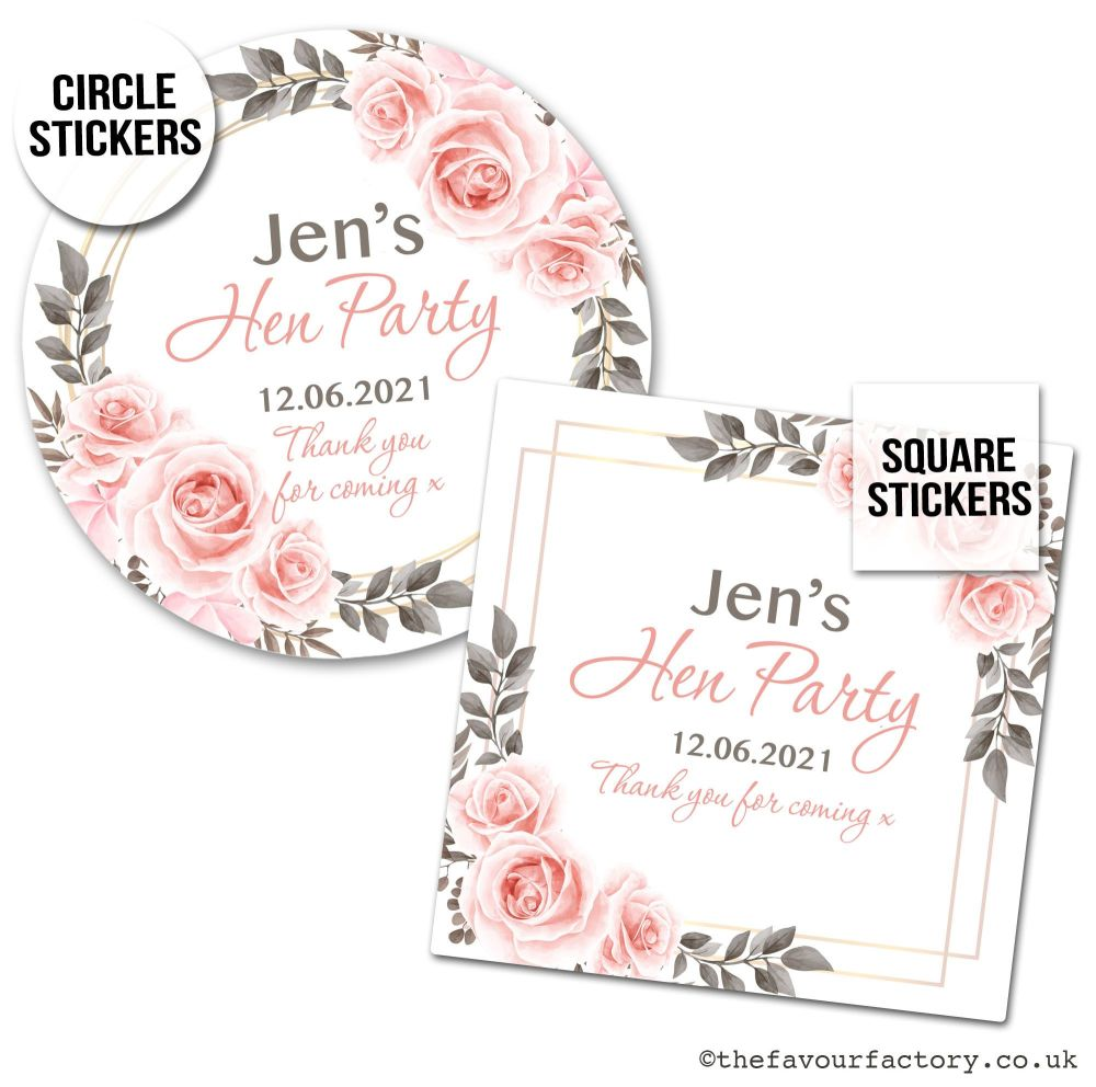 Hen Party Stickers Personalised Blush Roses x1 A4 Sheet