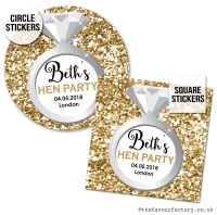 Hen Party Stickers Personalised Gold Glitter Ring x1 A4 Sheet