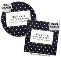 Hen Party Stickers Personalised Gold Polka Dots 1x A4 Sheet