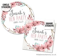 Hen Party Stickers Personalised Boho Floral Wreath