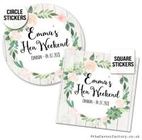 Hen Party Stickers Personalised Boho Succulents 1x A4 Sheet