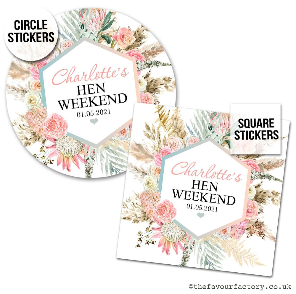 Hen Party Stickers Personalised Boho Pampas Grass x1 A4 Sheet