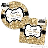 Hen Party Stickers Personalised Gold Glitter 1x A4 Sheet
