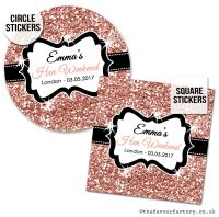 Hen Party Stickers Personalised Rose Gold Glitter