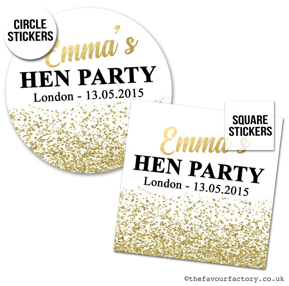Hen Party Stickers Gold Glitter Confetti.