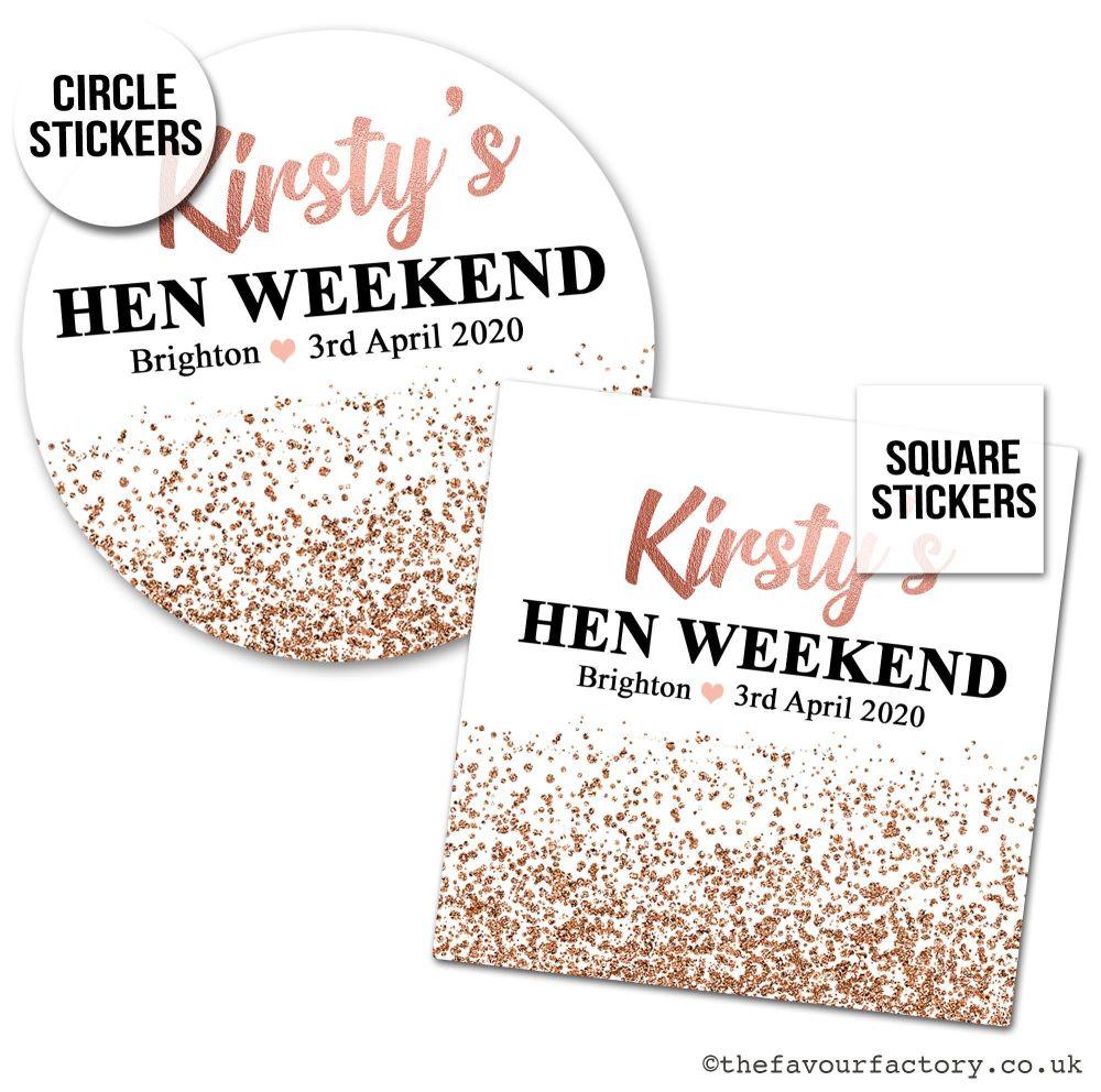 Hen Party Stickers Rose Gold Glitter Confetti 1x A4 Sheet