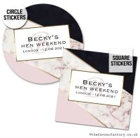 Hen Party Stickers Black And Rose Gold Marble Stripes 1x A4 Sheet