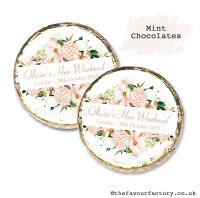 Hen Party Mint Chocolates Personalised Blush Floral Frame x10