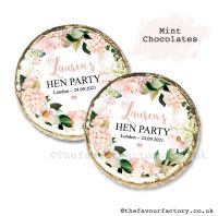 Hen Party Mint Chocolates Personalised Blush Hydrangeas x10