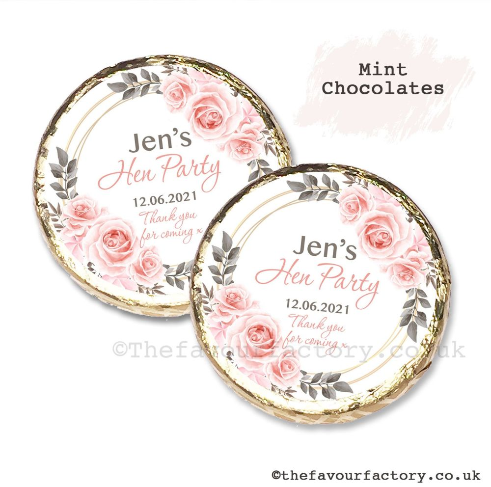 Hen Party Mint Chocolates Personalised Blush Roses x10