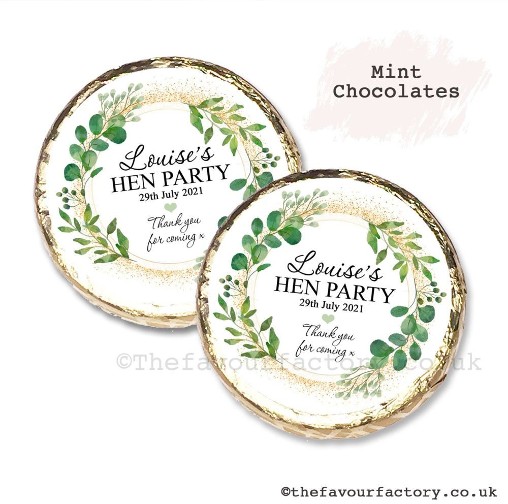 Hen Party Mint Chocolates Personalised Botanical Gold Dust x10