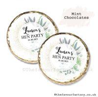 Hen Party Mint Chocolates Personalised Botanical Romance x10