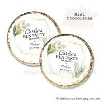 Hen Party Mint Chocolates Personalised Geometric Botanicals x10