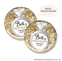Hen Party Mint Chocolates Personalised Gold Glitter Ring x10