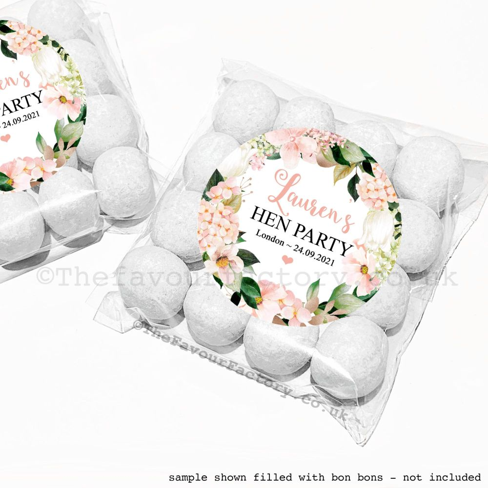 Hen Party Sweet Bags Kits Personalised Blush Hydrangeas x12
