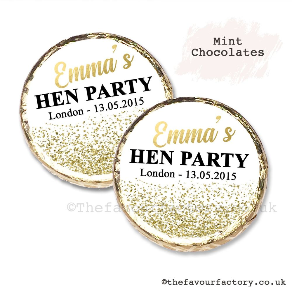 Hen Party Mint Chocolates Personalised Gold Glitter Confetti x10