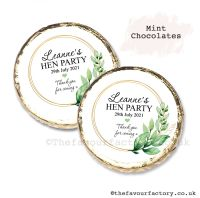 Hen Party Mint Chocolates Personalised Botanical Gold Frame x10