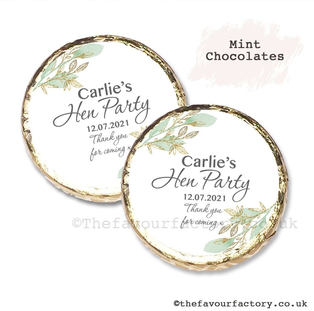 Hen Party Mint Chocolates Personalised Botanical Gold Leaf x10
