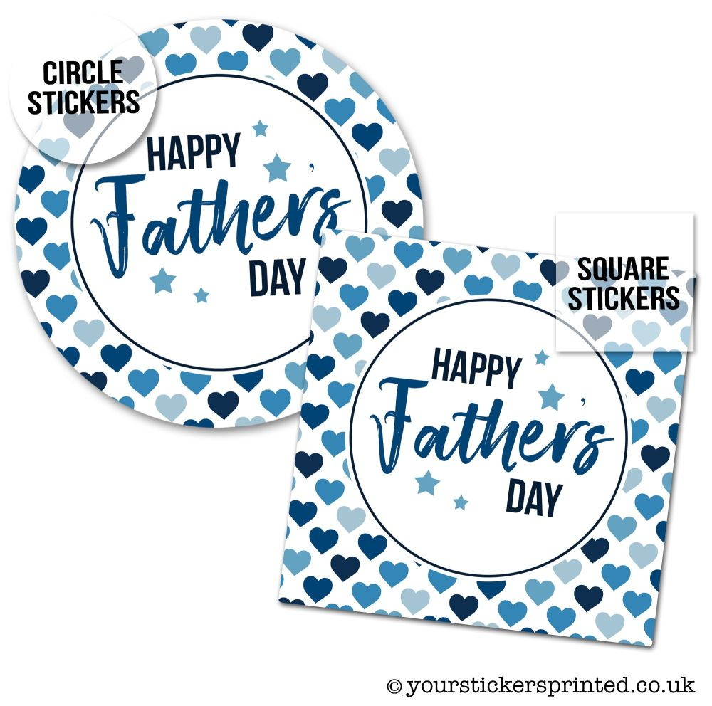 Father's Day Stickers Polka Dot Hearts