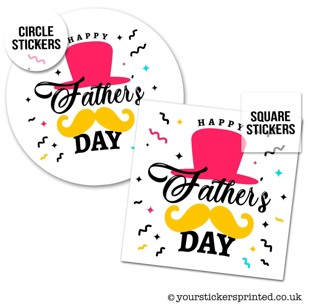 Father's Day Stickers Top Hat And Moustache