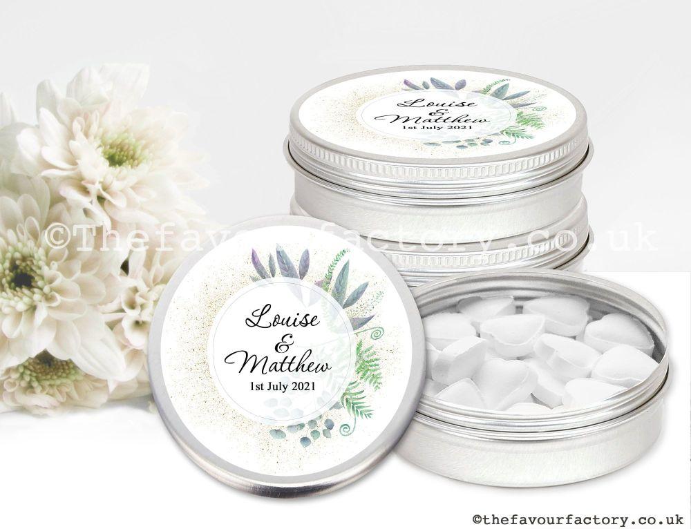 Personalised Wedding Favour Tins Botanical Romance x1