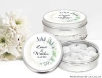 Personalised Wedding Favour Tins Botanical Romance x1