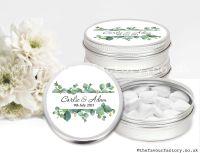 Personalised Wedding Favour Tins Eucalyptus Frame x1