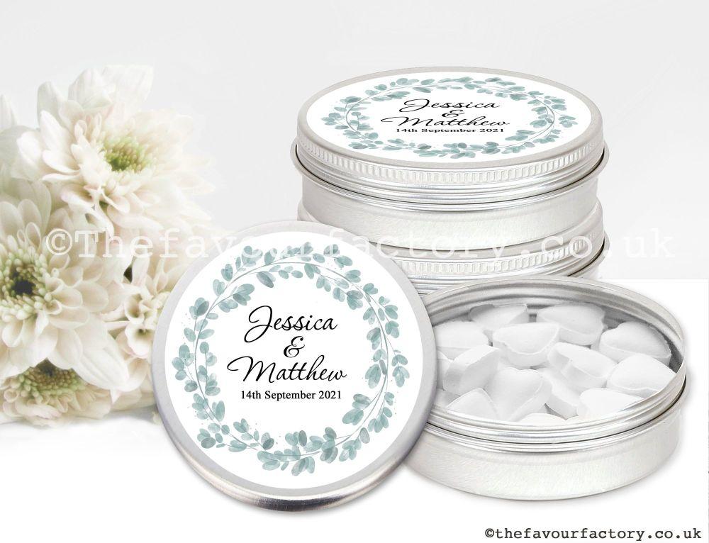 Personalised Wedding Favour Tins Eucalyptus Wreath x1