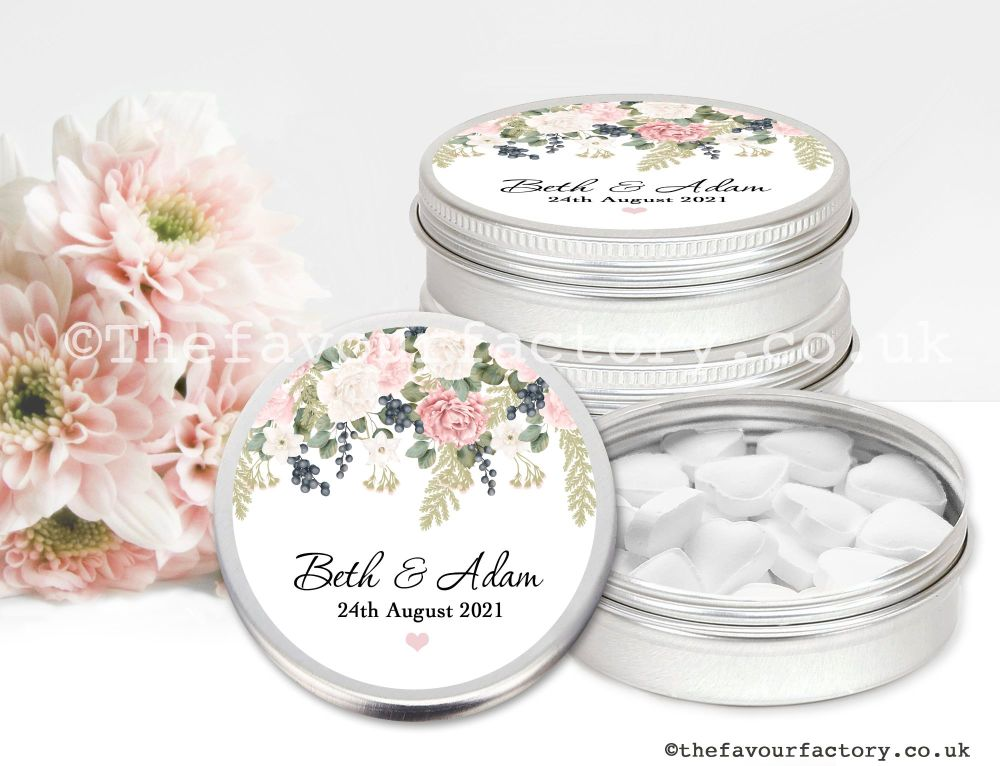 Personalised Wedding Favour Tins Peonies Eucalyptus Berries x1