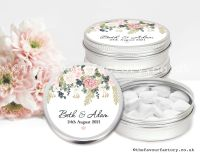 Personalised Wedding Favour Tins Peonies Eucalyptus Berries x1