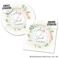 Personalised Wedding Favour Stickers Botanical Gold Dust Roses