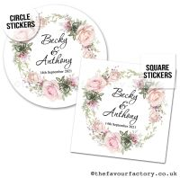 Personalised Wedding Favour Stickers Vintage Floral Wreath