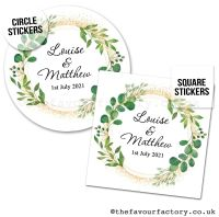 Personalised Wedding Favour Stickers Botanical Gold Dust