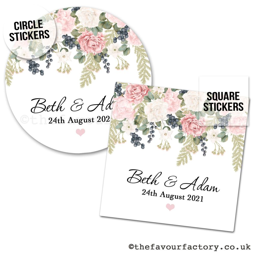 Personalised Wedding Favour Stickers Peonies Eucalyptus Berries