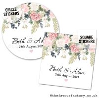 Personalised Wedding Favour Stickers Peonies Eucalyptus Berries