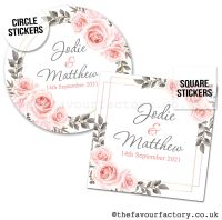 Personalised Wedding Favour Stickers Blush Roses